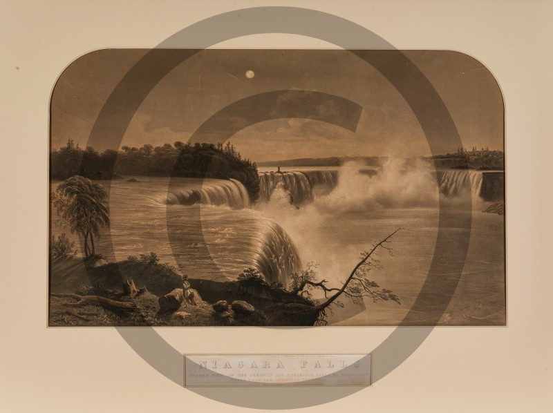 F.W. Lock -- Summer View of The American And Horseshoe Falls By Moonlight