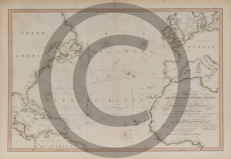WILLIAM FADEN -- A CHART OF THE ATLANTIC OR WESTERN OCEAN SHOWING 1805 PURSUIT OF FRENCH-SPANISH FLEET BY NELSON